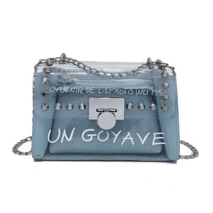Pastel blue women's handbag with silver detail and chain strap
