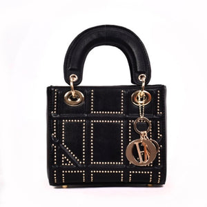 Ladies black handbag with gold studded detail
