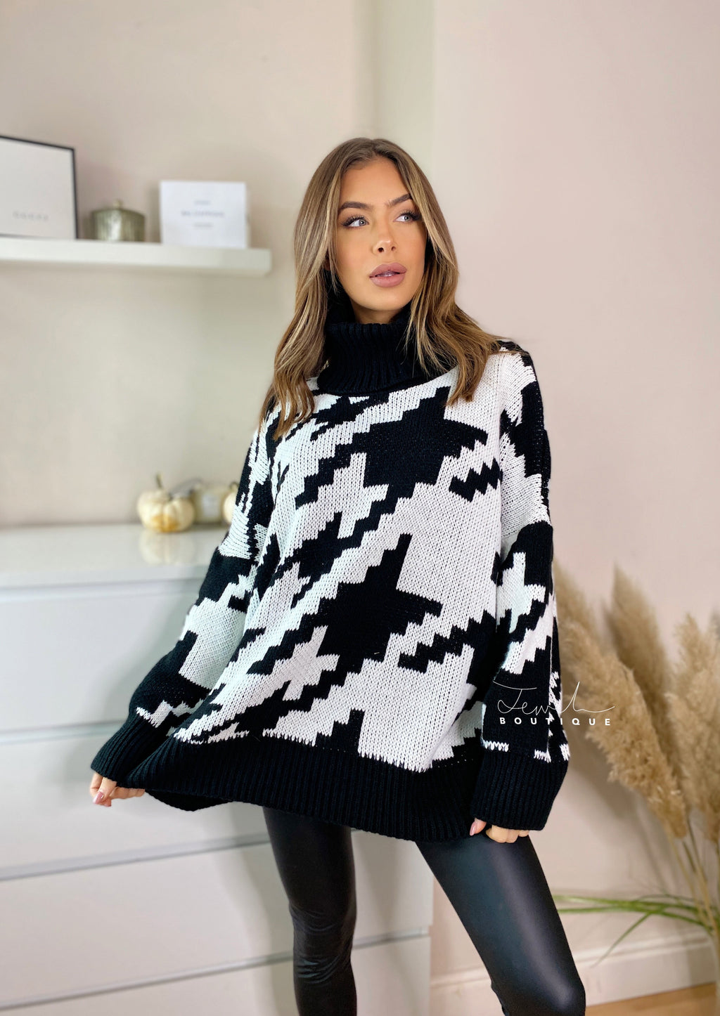Alexandra Black Long Oversized Jumper