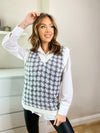 Women's houndstooth grey and white sleeveless knit and shirt set