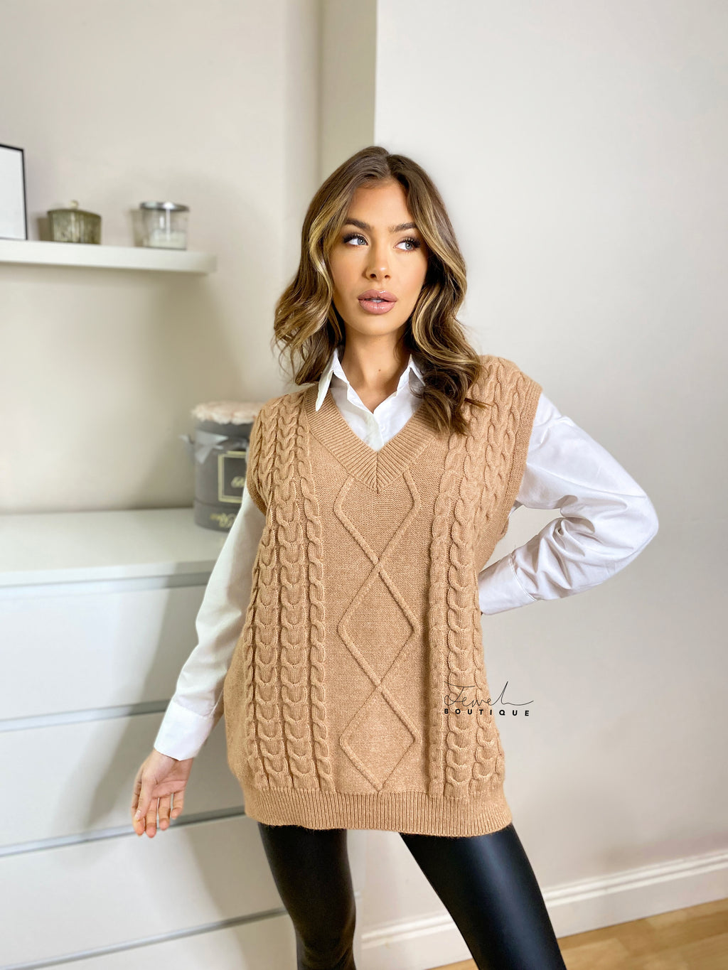 Women's stylish mocha cable knit sleeveless vest and white oversized shirt set