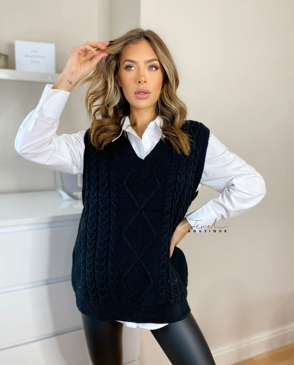 Stylish cable knitted vest with white shirt