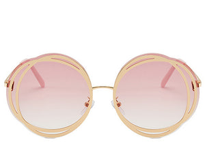 Ladies round oversized pink tinted sunglasses with gold detailing
