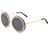 Ladies round oversized black and gold sunglasses