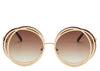 Ladies round oversized brown and gold sunglasses