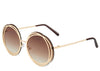Women's round oversized brown and gold sunglasses
