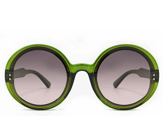 Women's stylish green round oversized sunglasses