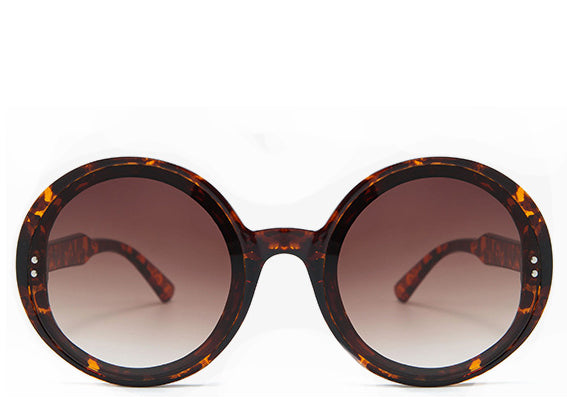 Women's stylish tortoiseshell round oversized sunglasses