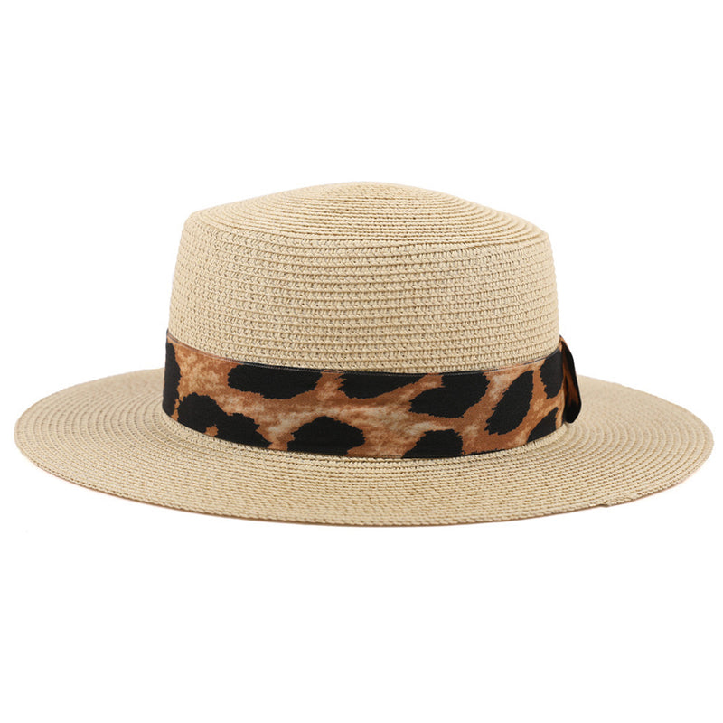 Women's beige boater hat with leopard trim detail