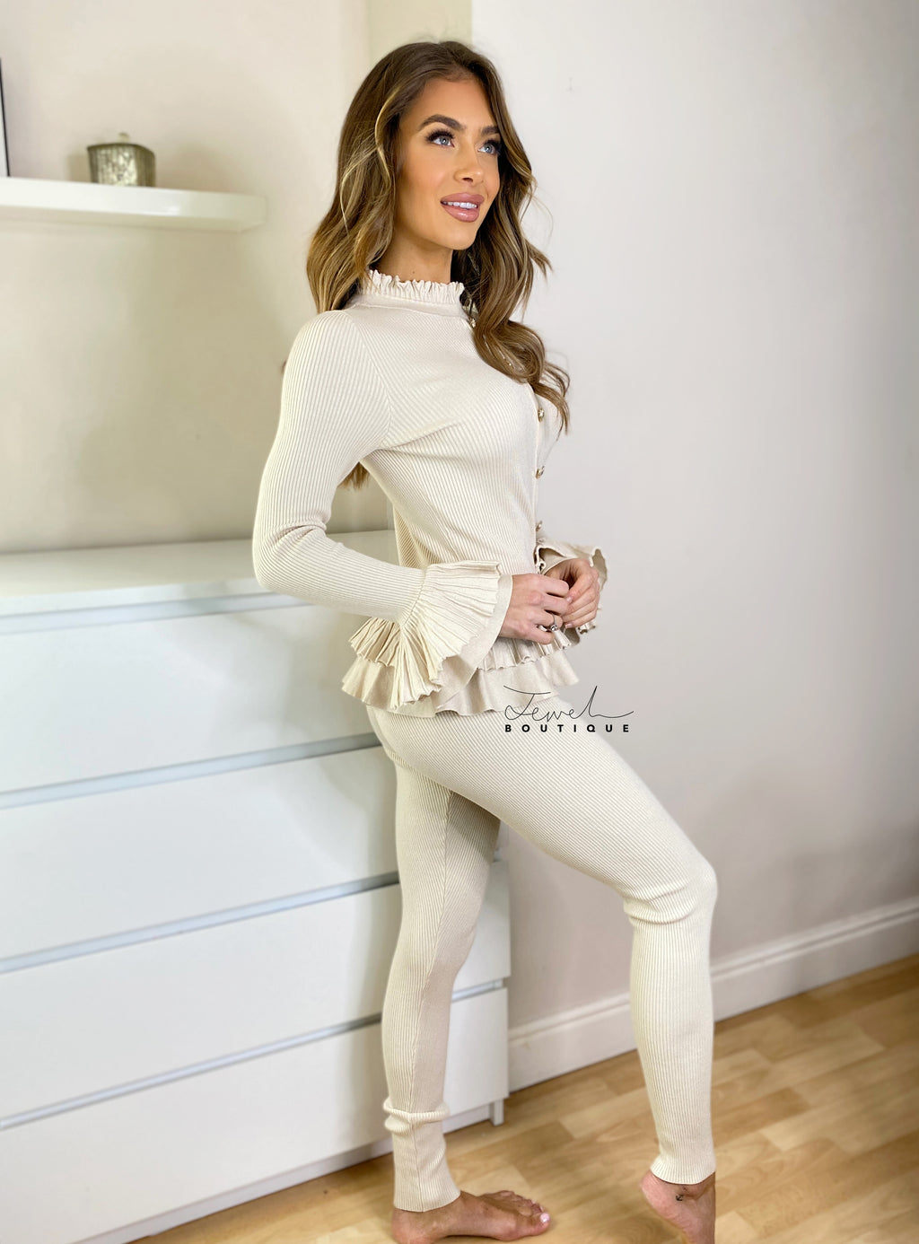 Women's beige loungewear set with frill and gold button detail