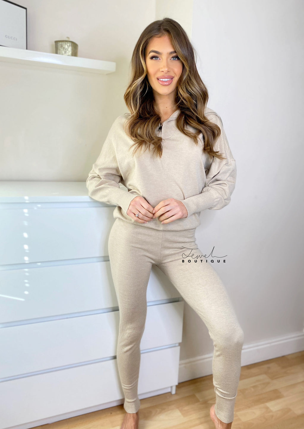 Women's beige super soft loungewear set with zip detail top and legging style bottoms