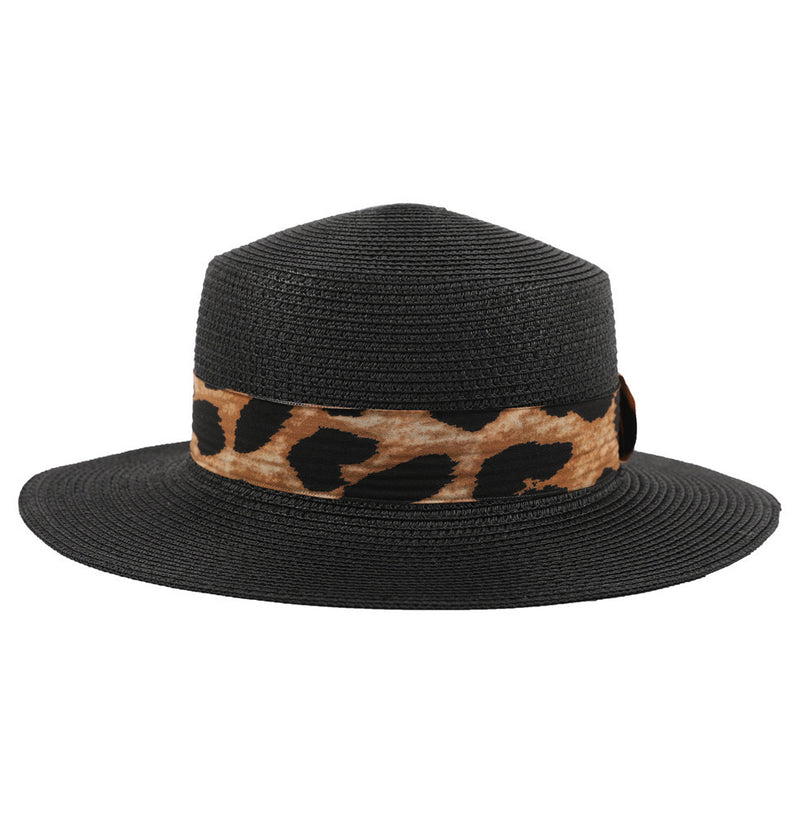 Women's black boater sun hat with leopard trim