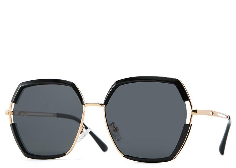 Women's black lens hexagon sunglasses