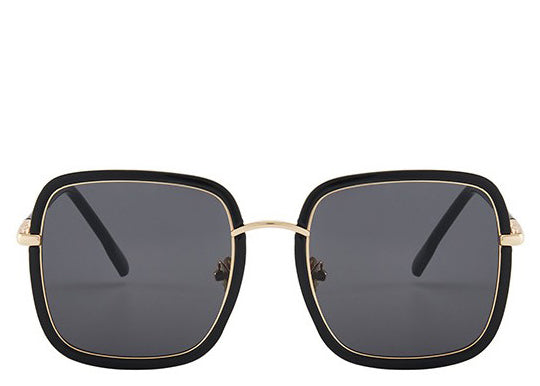 Women's black oversized square sunglasses with gold detail
