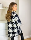 Black and white dogtooth print shacket