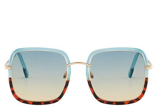 Malibu Blue Leopard Square Sunglasses