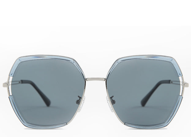 Women's blue tint hexagon sunglasses