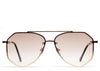 Women's brown tinted oversized aviator sunglasses with gold frame