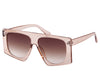 Women's peach frame, brown lens chunky oversized square sunglasses