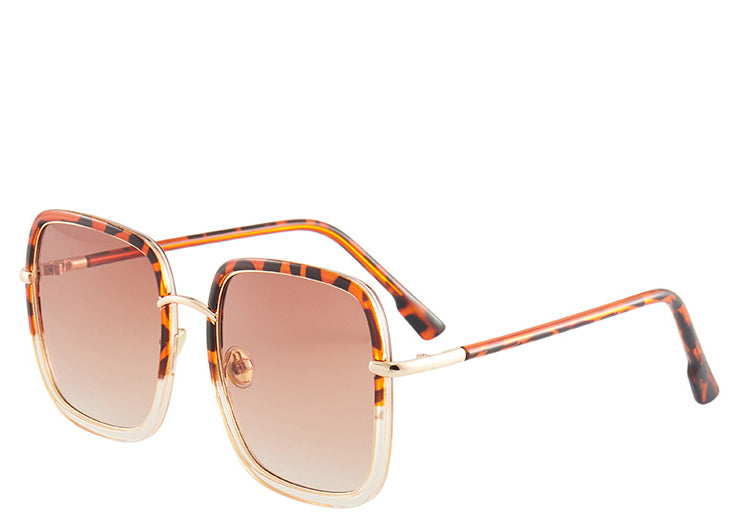 Malibu Brown Leopard Square Sunglasses