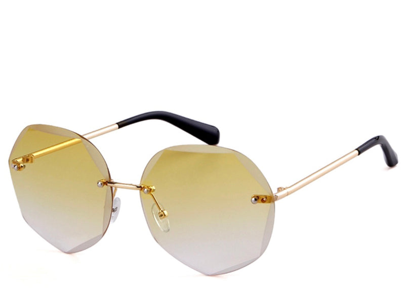 Women's stylish round yellow tint sunglasses