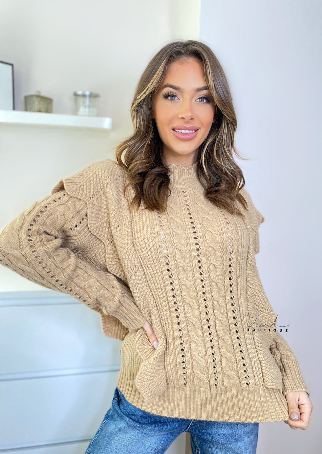 Women's camel coloured ruffle and cable knit jumper