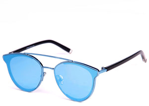 Women's stylish sunglasses with vibrant blue mirrored lens
