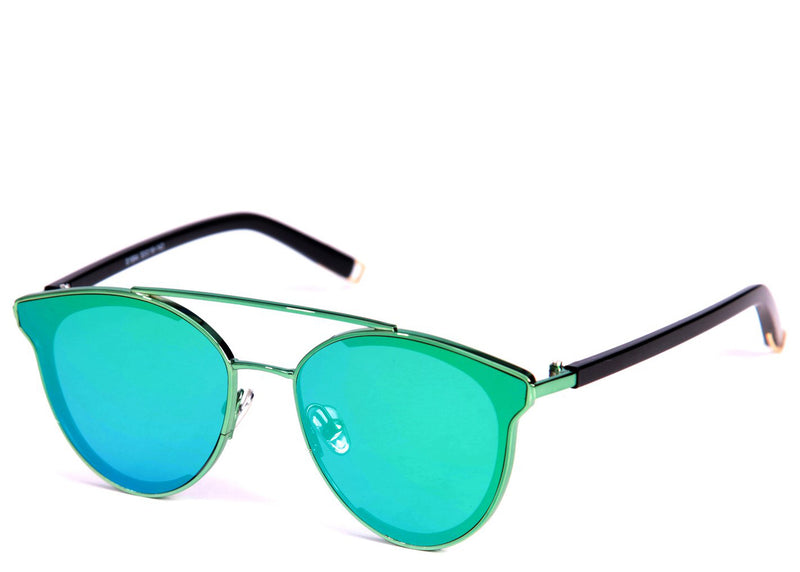 Women's on trend green flash lens reflective sunglasses