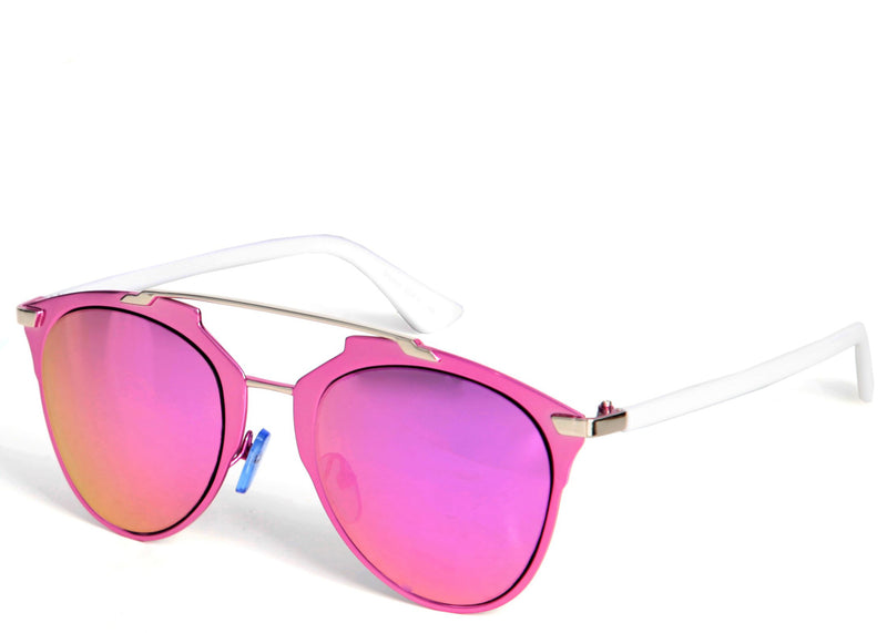 Women's stylish sunglasses with bright pink mirrored lens