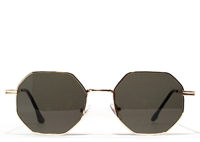 Women's black and gold small hexagon sunglasses