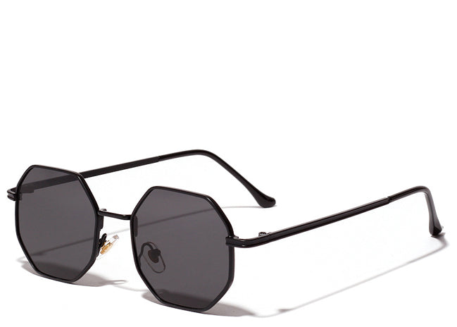 Women's all black small hexagon sunglasses