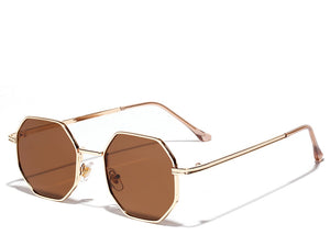 Women's brown small hexagon sunglasses