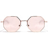 Women's rose gold small hexagon sunglasses
