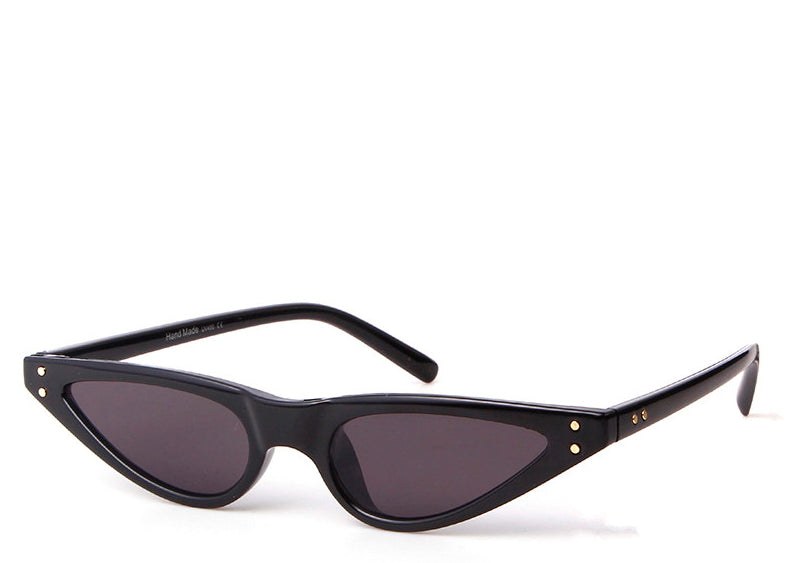 Women's slim cool black retro cat eye sunglasses