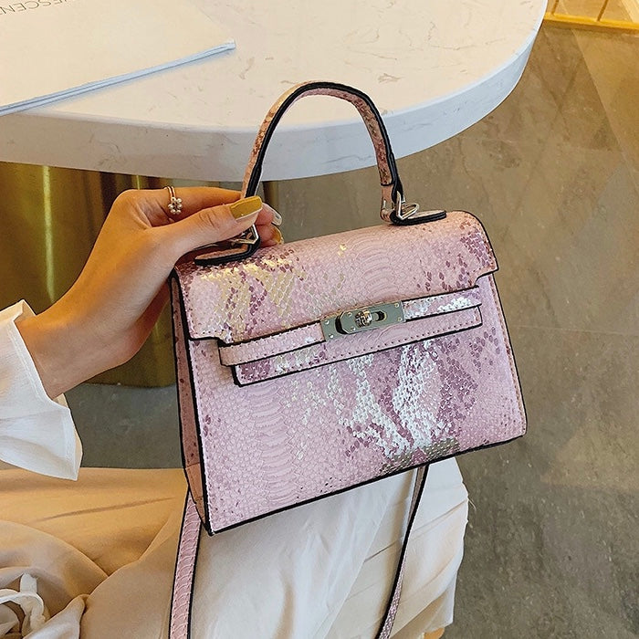 Luxe Metallic Croc Bag - Pastel Pink - New Collection