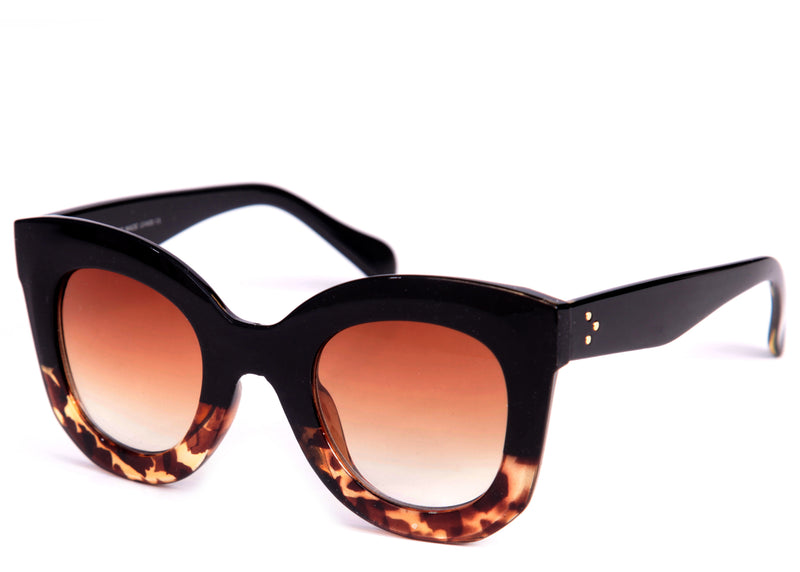 Ladies brown and tortoiseshell stylish cat eye sunglasses