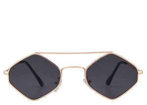 Women's modern retro black and gold sunglasses