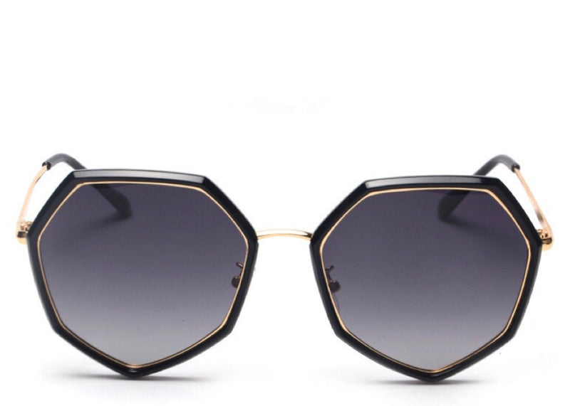 Women's stylish black and gold hexagon shaped sunglasses