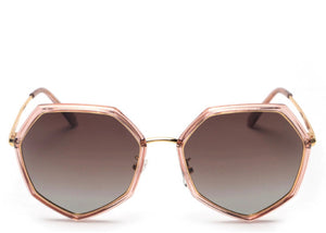 Women's peach hexagonal tinted sunglasses
