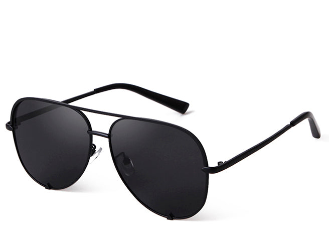 Women's all black oversized stylish aviator sunglasses