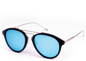 Women's small round stylish sunglasses with blue mirrored lens