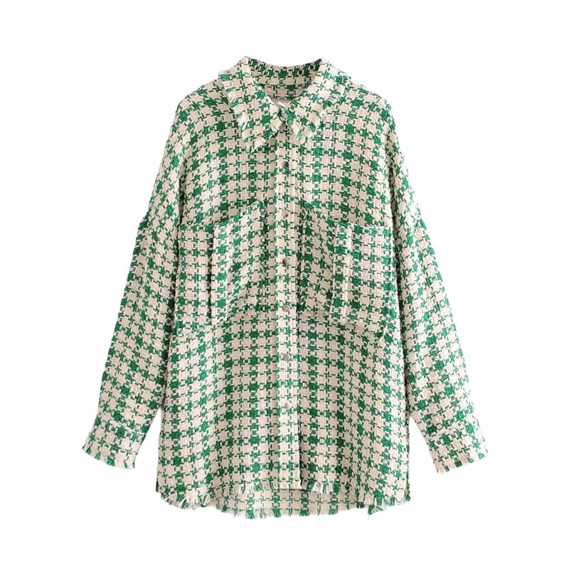 Women's longline green tweed houndstooth shacket (shirt jacket)