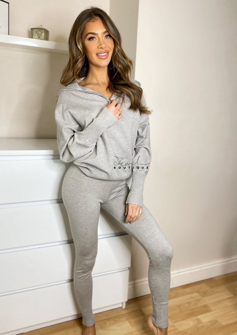 Women's light grey super soft loungewear set with zip detail top and legging style bottoms