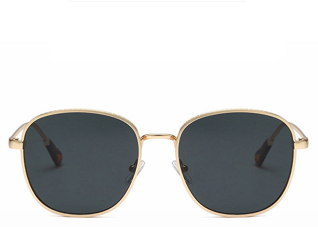 Women's black and gold round oversized sunglasses
