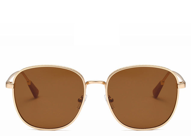 Women's brown round oversized sunglasses