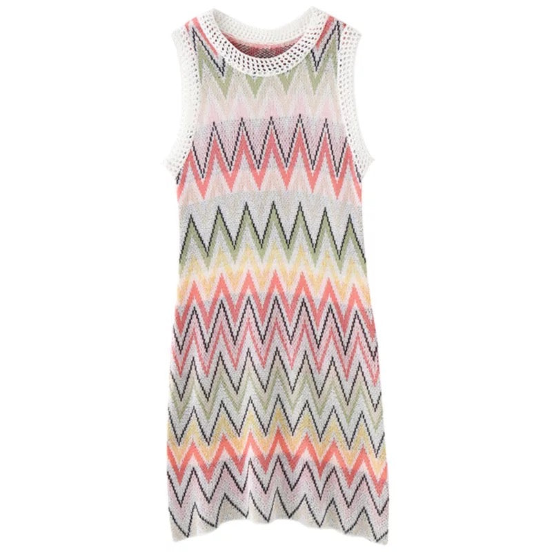 High quality multicoloured knitted women's zig zag beach dress