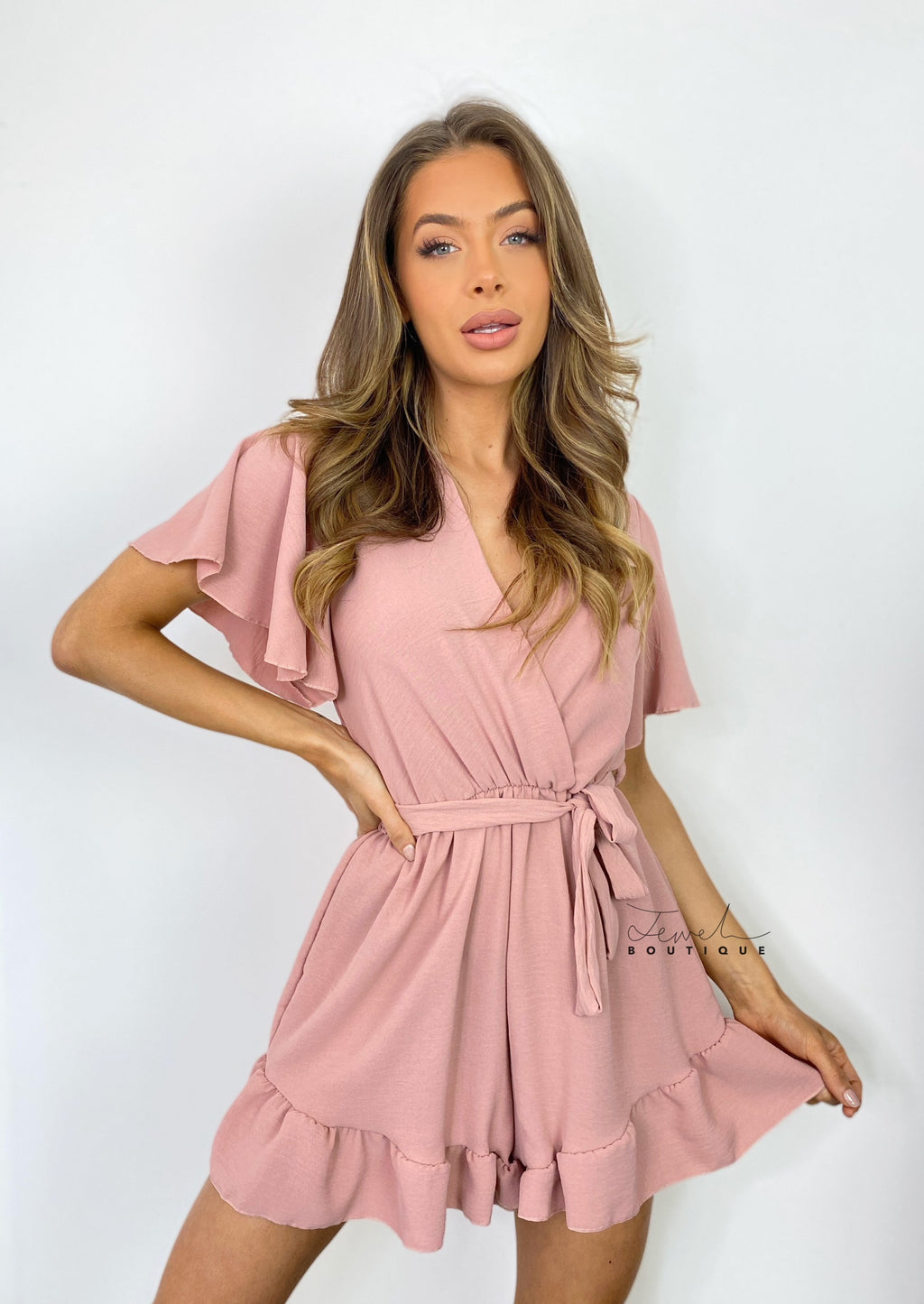 Women's blush pink belted ruffle playsuit