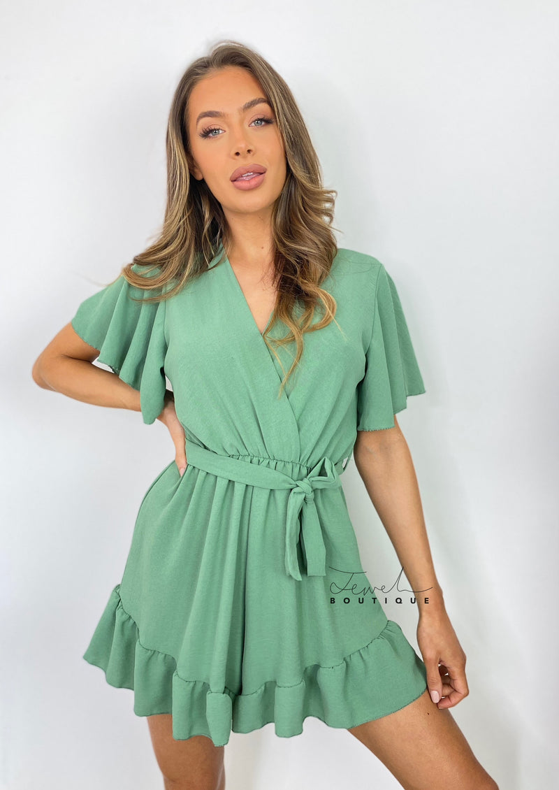 Women's green belted ruffle playsuit