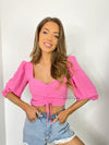 Women's fuschia pink crop top with ruched detail