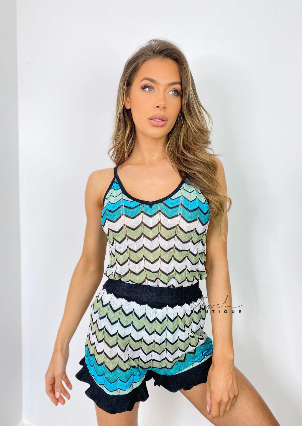 Women's luxury fine knit zigzag blue shorts and cami top set